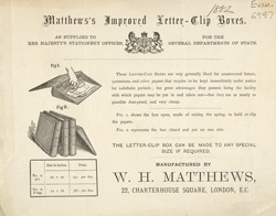 Advert For Matthew's Improved Letter Clip Boxes